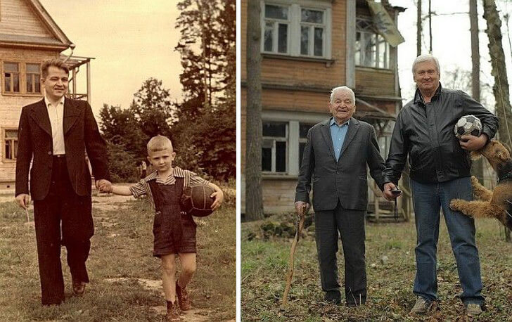 A father and son posing together after 60 years