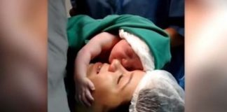 Heartwarming Video Of Newborn Baby Refusing To Let Go Off Its Mother