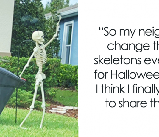 Girl Notices Her Neighbor's Halloween Skeletons Are Playing Out A New Scenario Every Day, And It's Hilarious