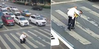 Heart-Melting Video Depicts Traffic Policeman Giving An Old Man A Piggyback Ride Across A Busy Intersection