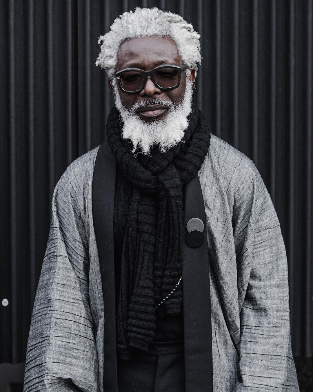 black man with white hair and beard