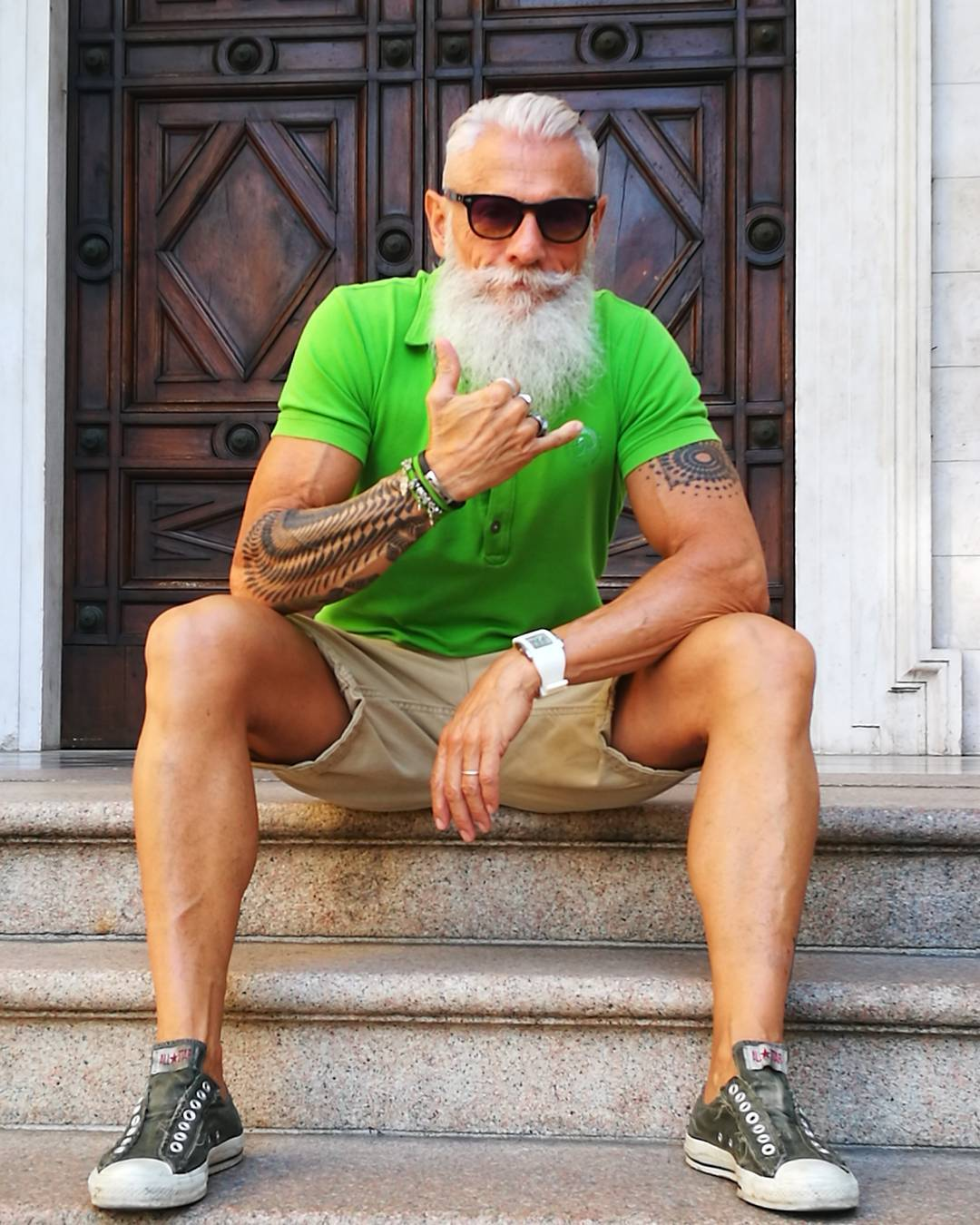old man with green shirt