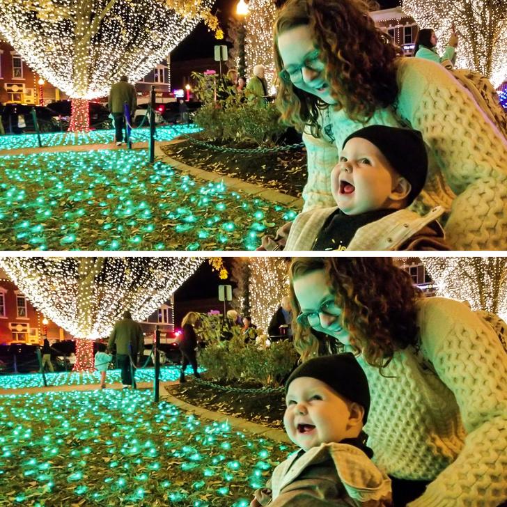 Christmas lights and a baby