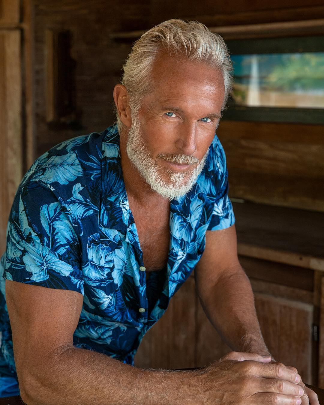 man with blue shirt