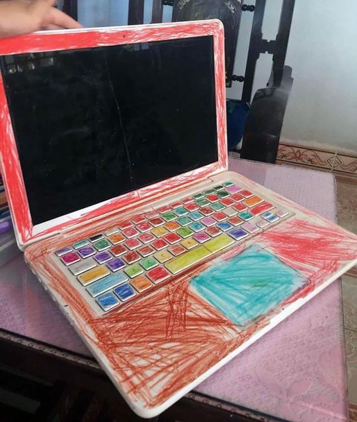 crayons vs laptop