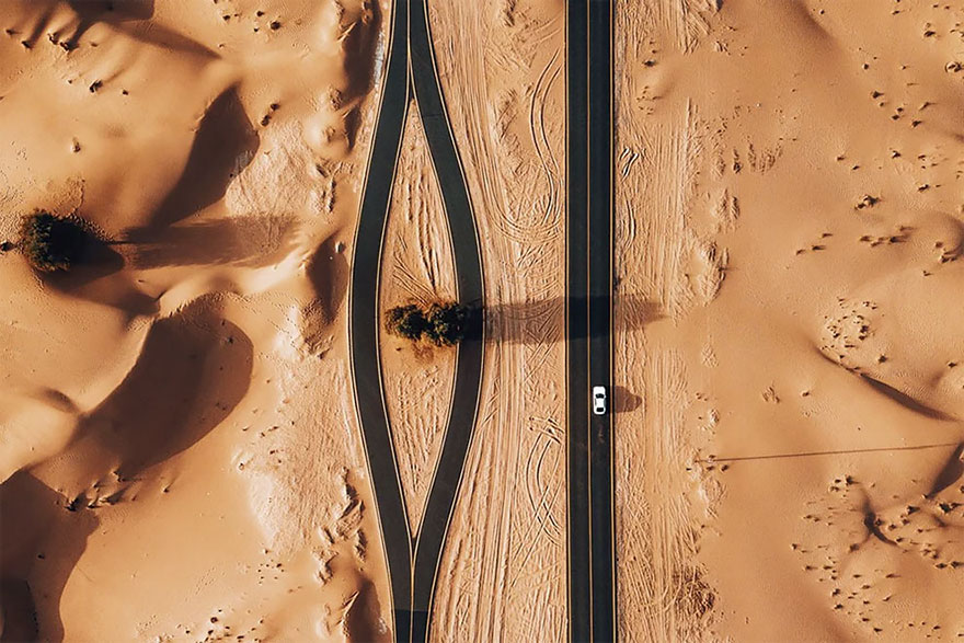 Al Qudra Desert roads , United Arab Emirates,