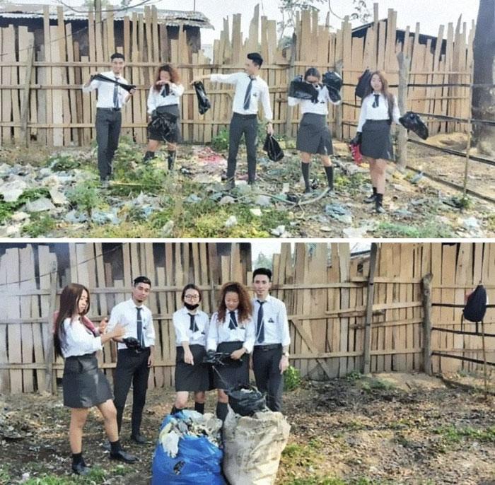 school kids cleaning trash
