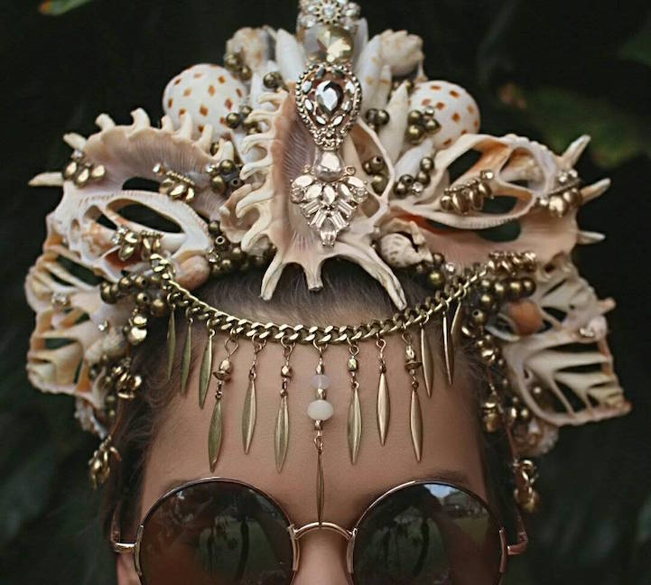 girl with shades and seashell tiara