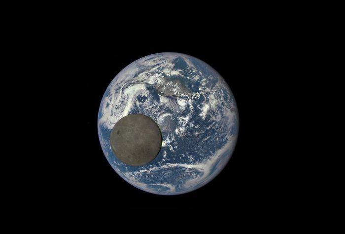 The Dark Side Of The Moon Passing In Front Of The Earth