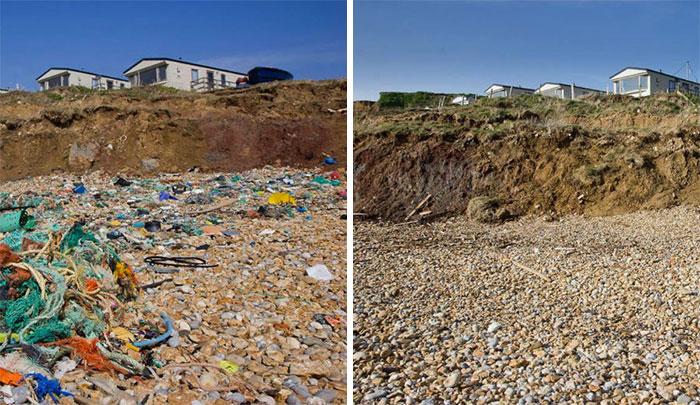 trash on a marble beach