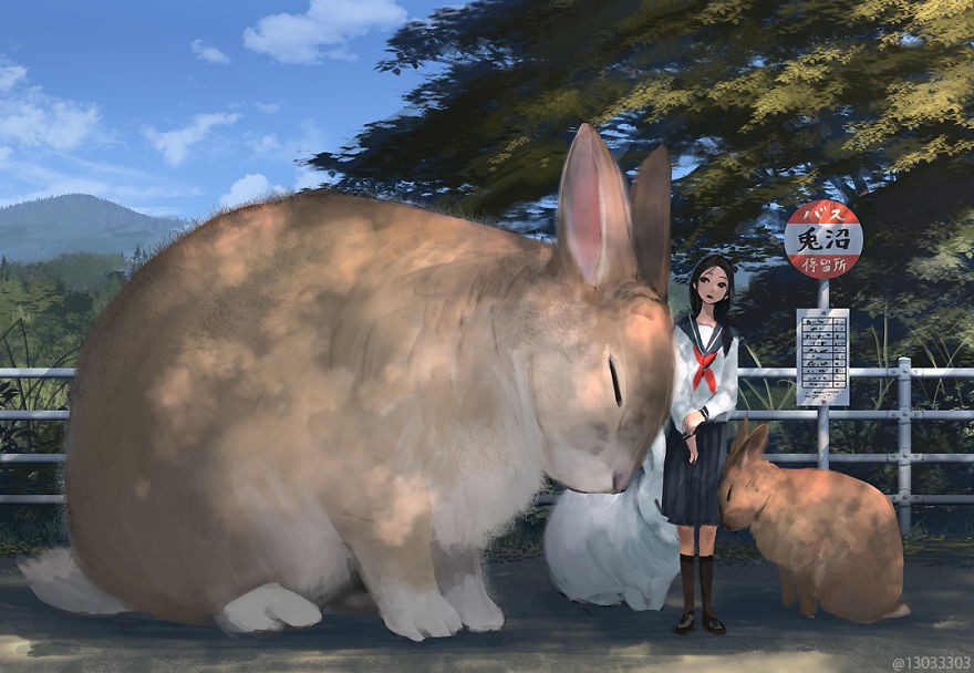 big rabbits and a girl