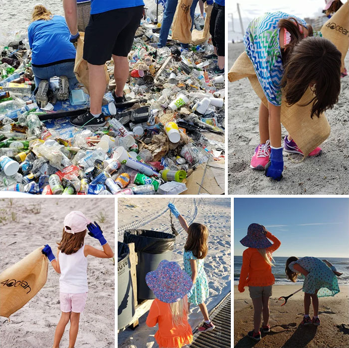kids cleaning trash on the beach