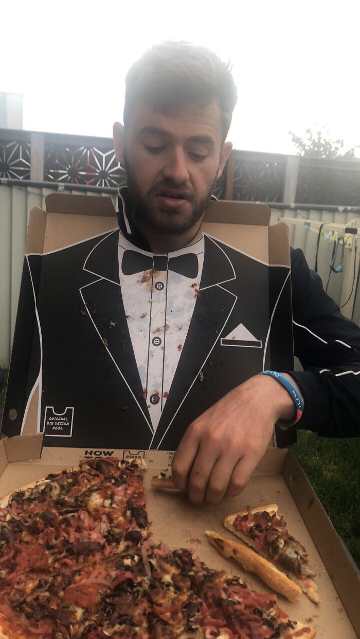 Inside Of The Pizza Box Was A Tuxedo
