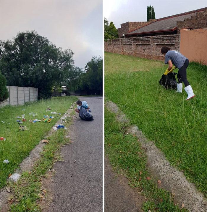 man cleaning a grass field