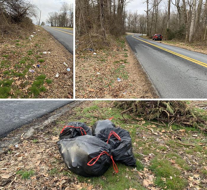 trash bags near road