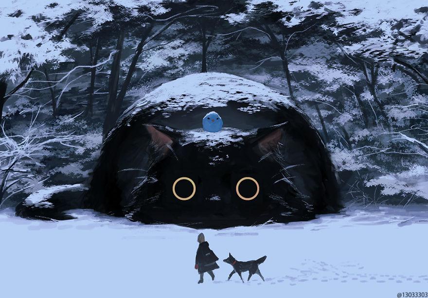 big round-eyed cat