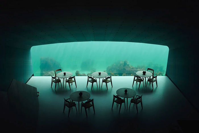 underwater restaurant  chairs and tables
