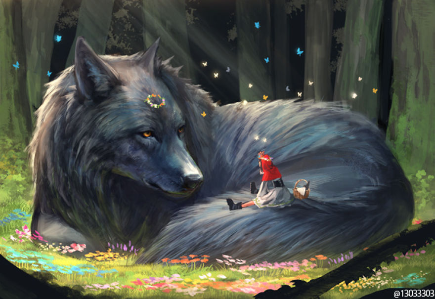 big wolf and a little girl