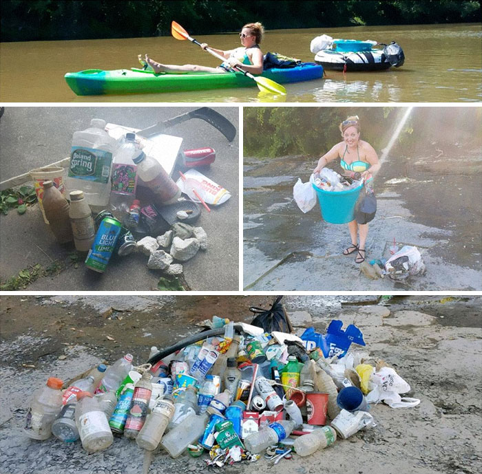 plastic bottles and a lady with a Kayak