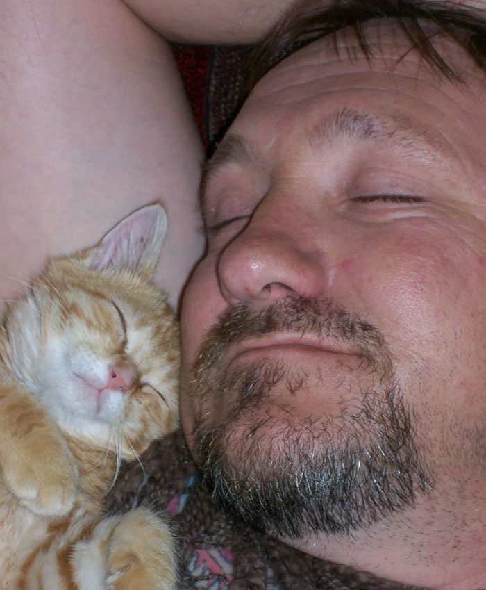 dad and cat