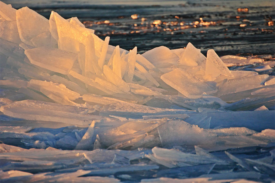 ice tiles on water