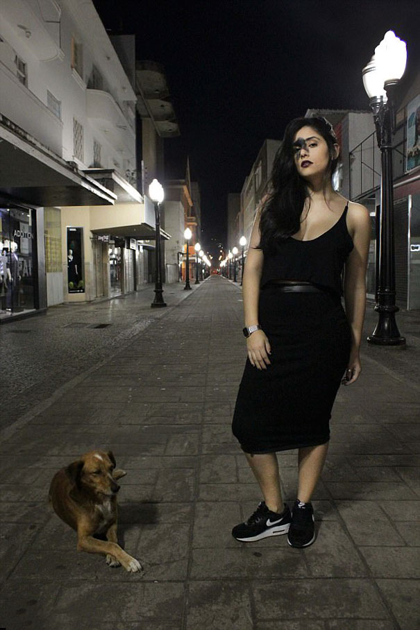 Mariana Mendes in black dress