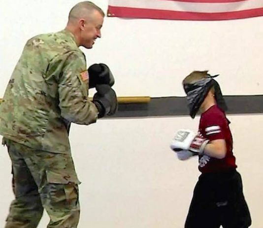 Blindfolded Boy Spars During Taekwondo Lesson But Doesn't Know His Partner Is His 'Deployed' Dad