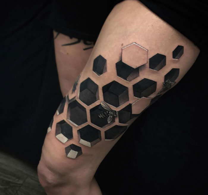 honeycomb 3d tattoo