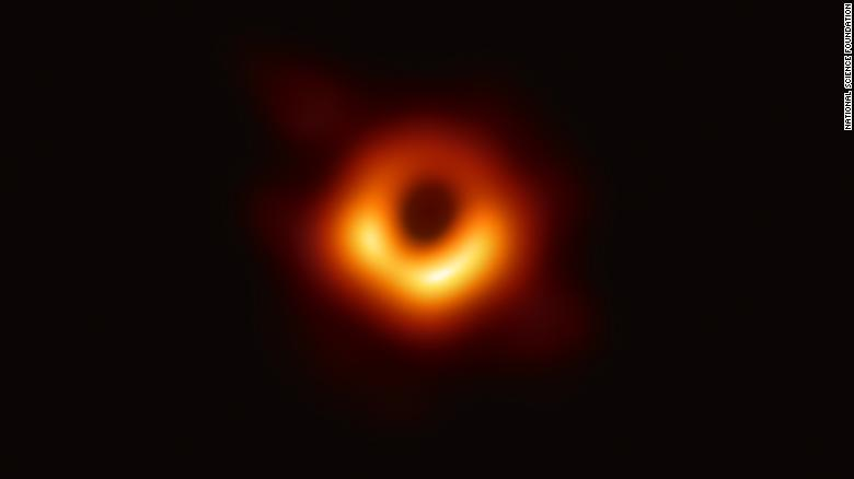 The black hole image captured by the Event Horizon Telescope Collaboration.