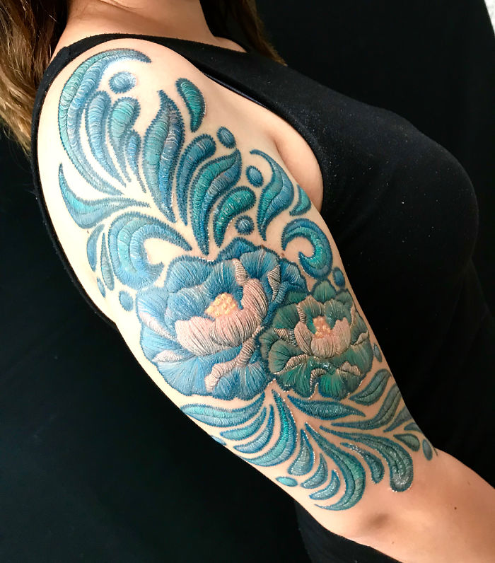 blue flower tattoo