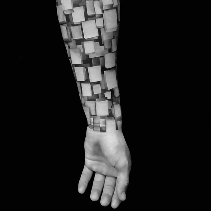 Realistic Tattoo Filled With 3D Blocks