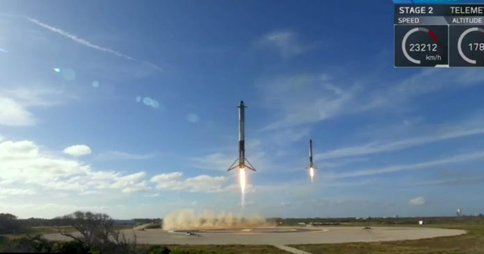 The Remarkable Triple Rocket Landing Of SpaceX's Falcon Heavy Launch Of Arabsat-6A