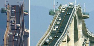 It's The Eshima Ohashi Bridge In Japan