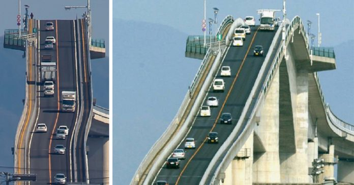 It's The Eshima Ohashi Bridge In Japan