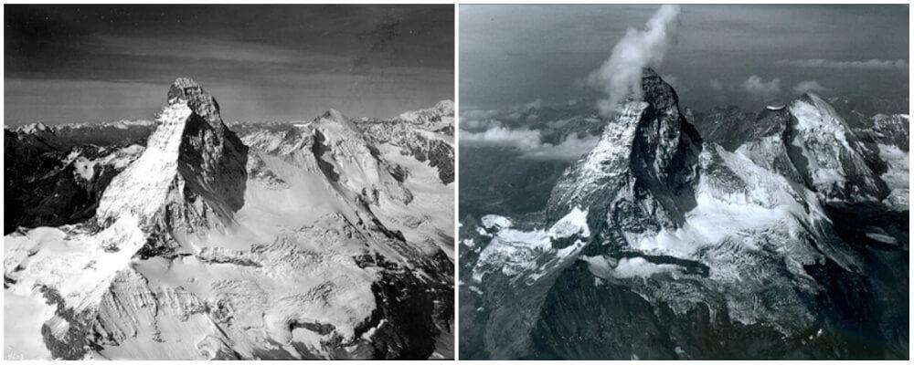 Matterhorn Mountain in the Alps. August 1960- August 2005