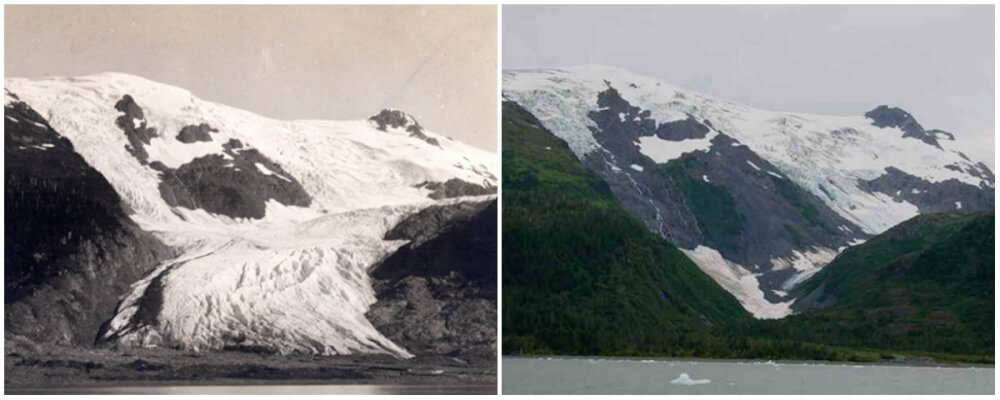 Toboggan Glacier, Alaska. June 1909 – September 2000