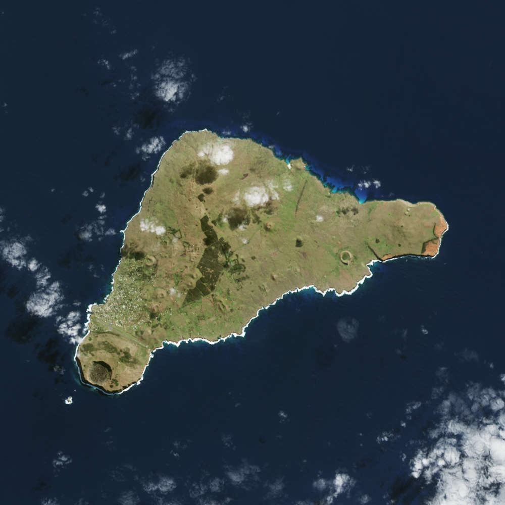 A satellite image of Rapa Nui taken in 2015. NASA
