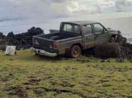 Pickup Truck Crashes Into One Of The Famous Easter Island Moai Statues