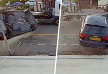 Pedestrian Barely Escapes As Out-Of-Control Audi Crashes Into Pavement