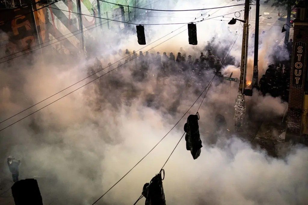 The whole city is covered with unhealthy tear gas