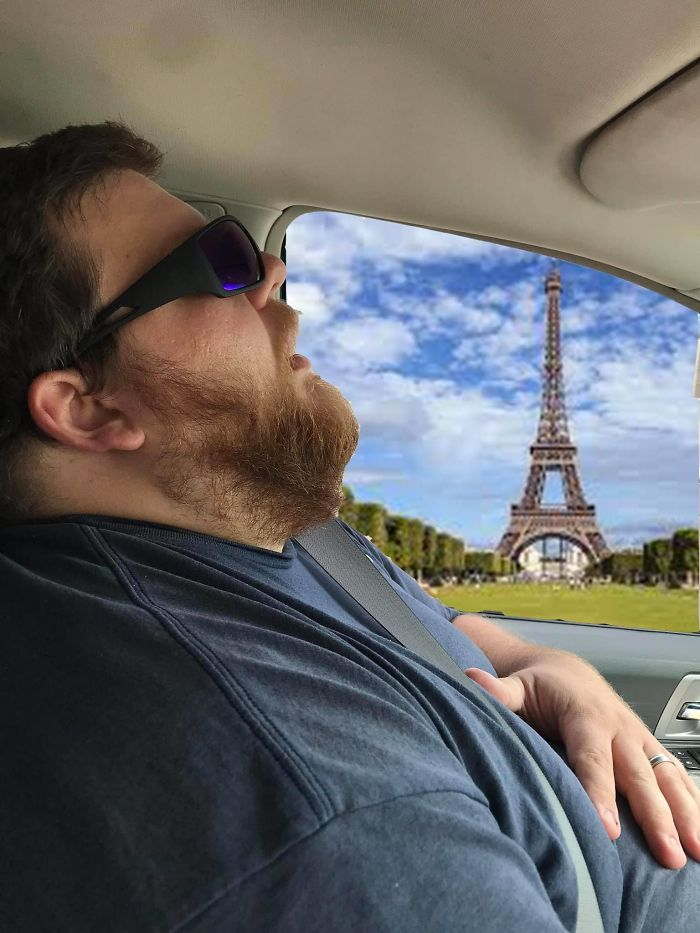 Husband Falls Asleep During Road Trip, Wife Asks People To Photoshop The Things That He Missed (13+ Pics)